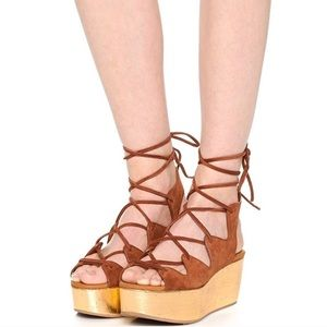 See By Chloe Suede Gold Platform Lace-up Sandals